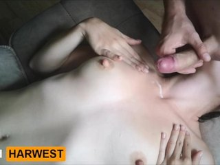 GrandHarwest. Cumshot on tits while she licked my balls